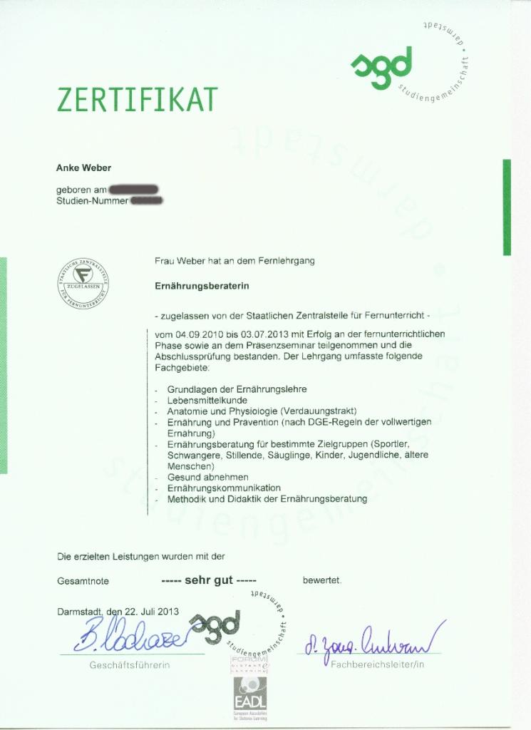Zertifikat - Ernährungsberatung Gesunder Appetit